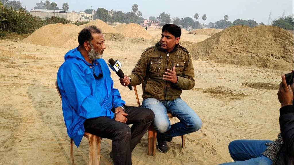Ravi Shankar Sharma interviewing me at Mokama